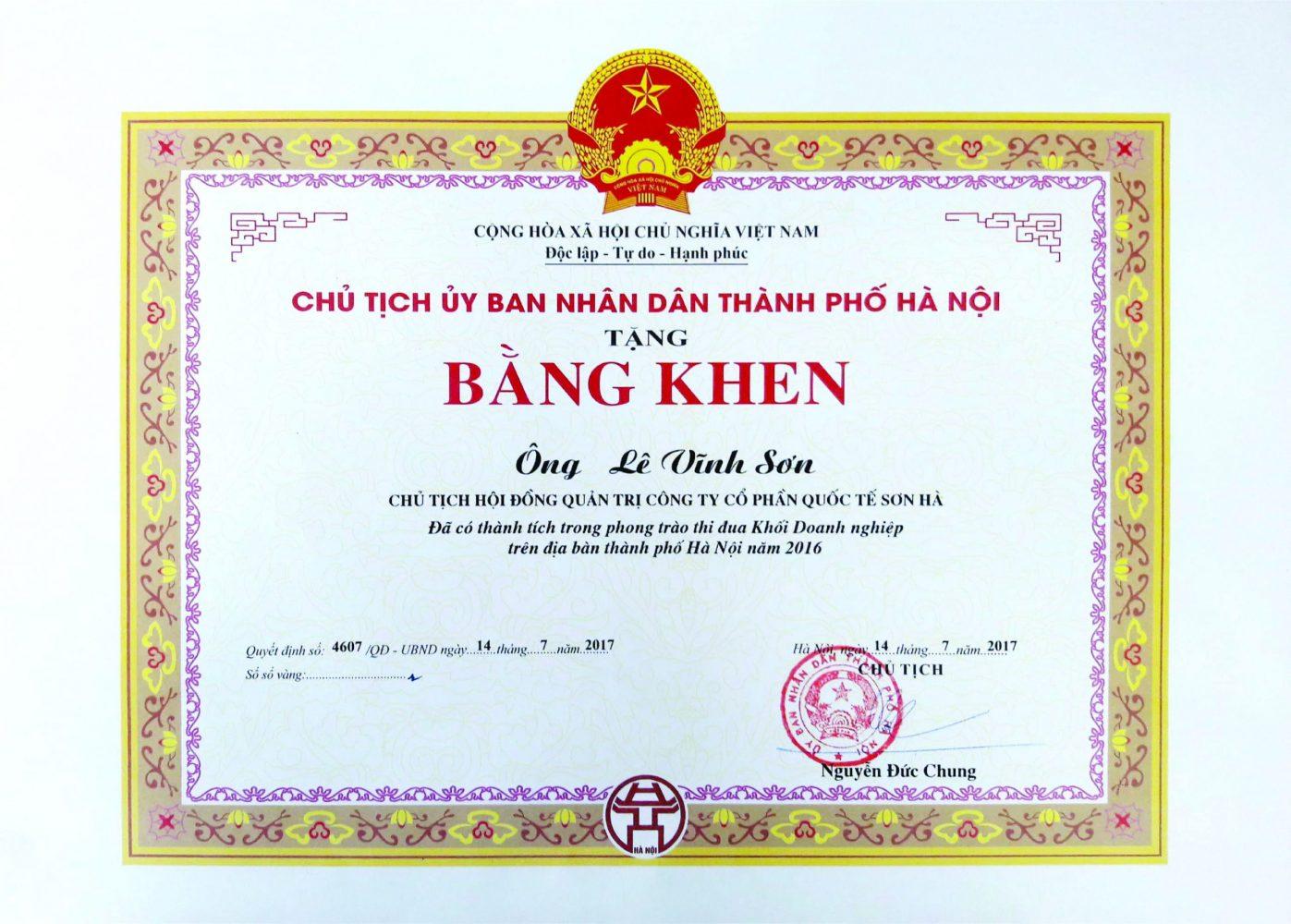 Bằng khen thi đua Doanh nghiệp Hà Nội 2016