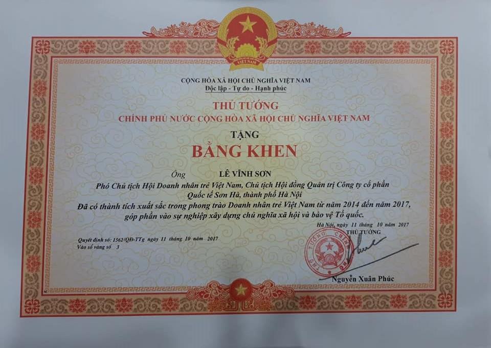 Bằng khen Doanh nhân trẻ Việt Nam 2014 - 2017